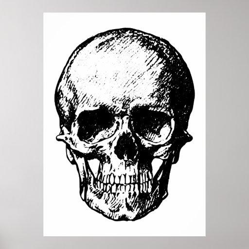 Black and White Vintage Skull Illustration Poster