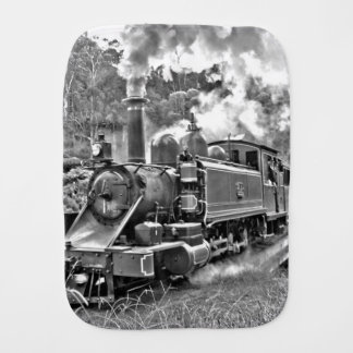 Black and White Vintage Steam Train Engine Burp Cloth