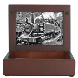 Black and White Vintage Steam Train Engine Keepsake Boxes