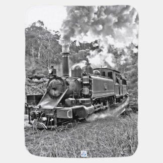 Black and White Vintage Steam Train Engine Pramblanket