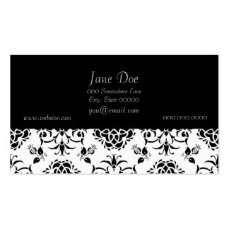 Black and White Vintage Style Floral Damask Business Cards