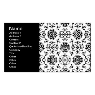Black and White Vintage Style Floral Damask Pack Of Standard Business Cards