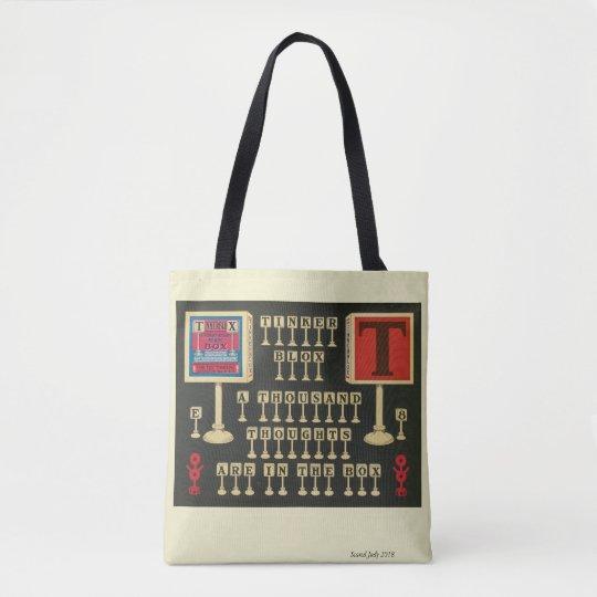 black and white, vintage toy, Tinkerblox Tote Bag
