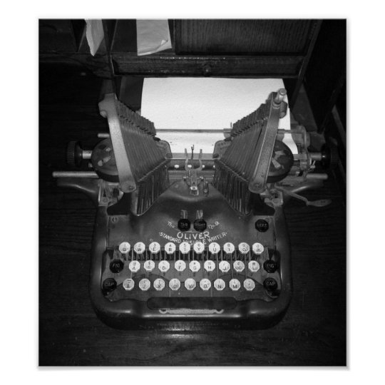 Black And White Vintage Typewriter Photograph Poster