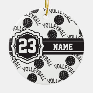 Black and White Volleyball Christmas Ornament