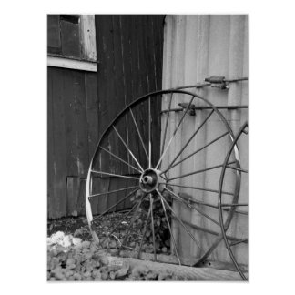 Black and White Wagon Wheel and Silo Poster