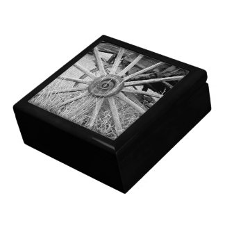 Black and White Wagon Wheel Large Square Gift Box