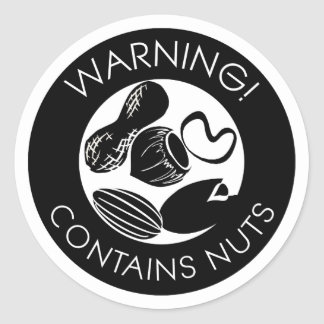 Black and White Warning Contains Nuts Symbol Round Sticker