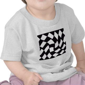 Black and White Warped Checkerboard T Shirt