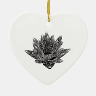 Black and White Water lily Ceramic Heart Decoration