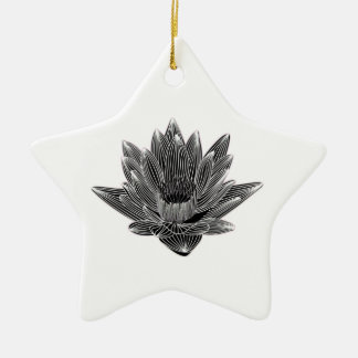 Black and White Water lily Ceramic Star Decoration