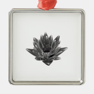 Black and White Water lily Christmas Ornament
