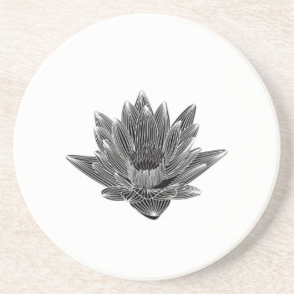 Black and White Water lily Coasters