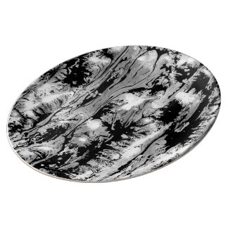 Black and white, water texture design, marbling pa porcelain plate
