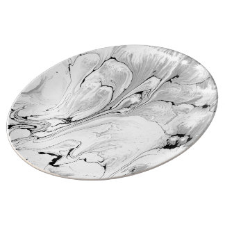 Black and white water texture design, marbling porcelain plates