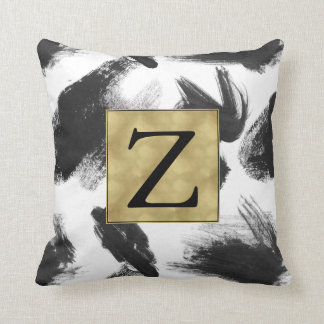Black and White Watercolor Abstract Monogram Throw Cushion