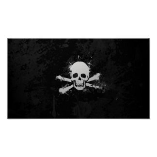 Black and White Watercolor Pirate Skull Flag Poster