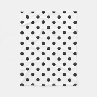 Black and White Watercolor Polka Dots Fleece Blanket