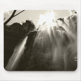 Black and white waterfall mouse mat