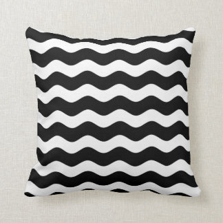 Black and White Wave Pattern Pillow Throw Cushion