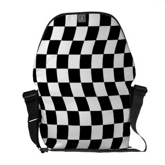 Black and White Wavy Check Design Commuter Bag