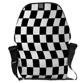 Black and White Wavy Check Design Messenger Bag
