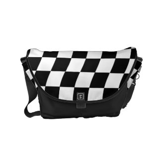 Black and White Wavy Check Design Messenger Bags