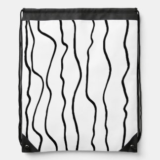 Black and White Wavy Lines Drawstring Backpack