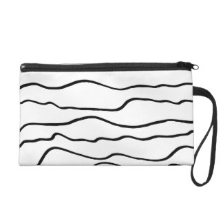 Black and White Wavy Lines Wristlet