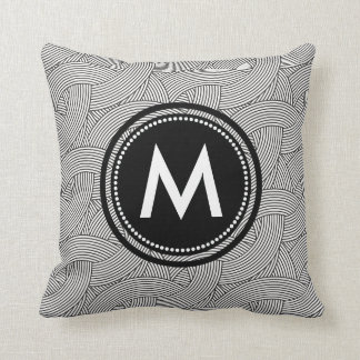 Black and White Weave Pattern Custom Monogrammed Cushion