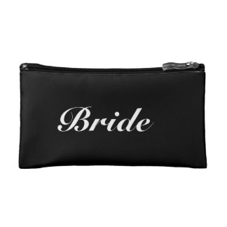 Black and White Wedding Bride Cosmetics Bag