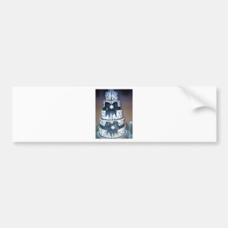 black and white wedding cake bumper sticker
