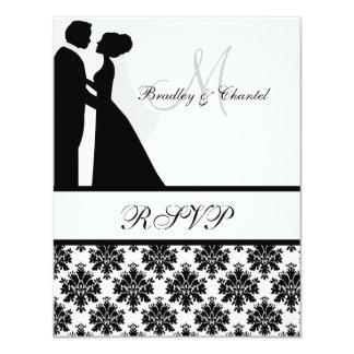 Black and White Wedding Couple RSVP Card 11 Cm X 14 Cm Invitation Card