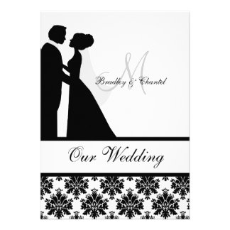 Black and White Wedding Couple Wedding Invitation