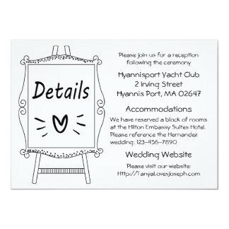 Black And White Wedding Details Artist Easel Card