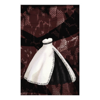 Black and White Wedding Gown Stationery Paper