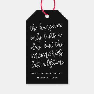 Black and White Wedding Hangover Kit Tags