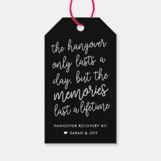 Black and White Wedding Hangover Kit Tags