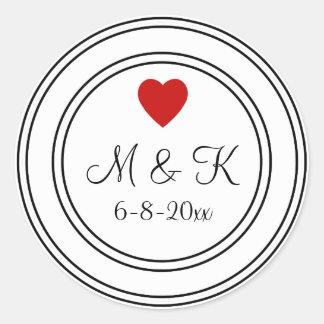 Black And White Wedding Monogram Sticker