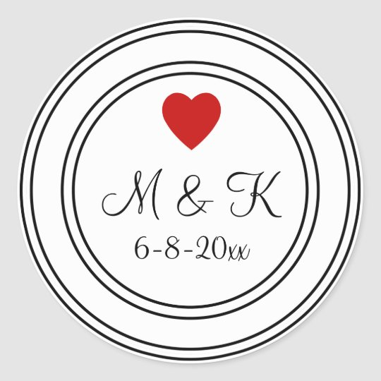 Black And White Wedding Monogram Sticker