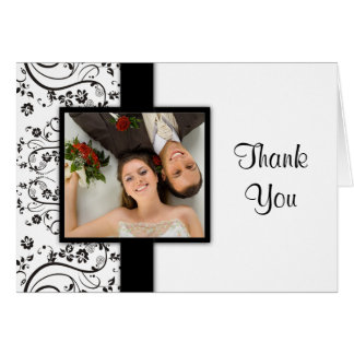 Black and White Wedding Photo Thank You Cards