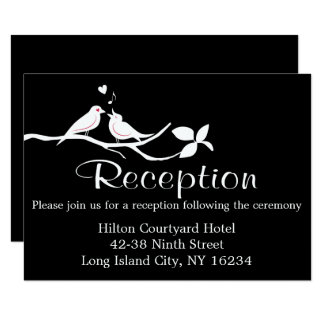 Black And White Wedding Reception Lovebirds Card