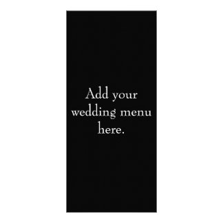 Black and White Wedding Reception Menu Cards Rack Card Design