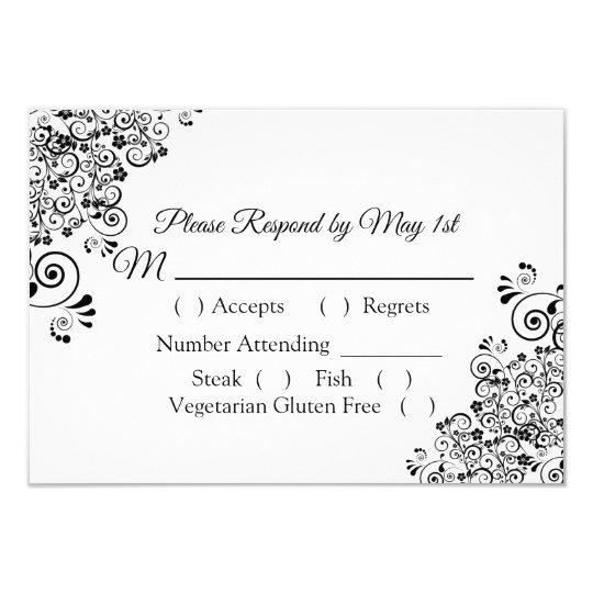 Black and White Wedding RSVP card