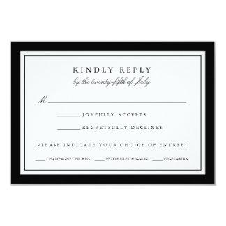 Black and White Wedding RSVP Card w/ Meal Choice 9 Cm X 13 Cm Invitation Card
