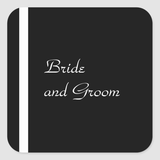 Black and White Wedding Sticker Templates
