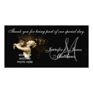 Black and White Wedding Thank You Monogram Card