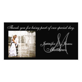 Black and White Wedding Thank You Monogram Cards Photo Greeting Card