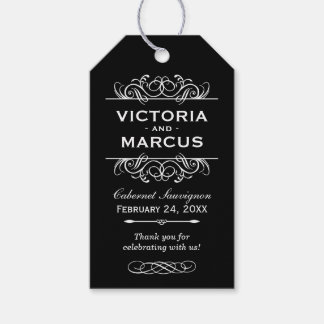 Black and White Wedding Wine Bottle Monogram Favor Gift Tags