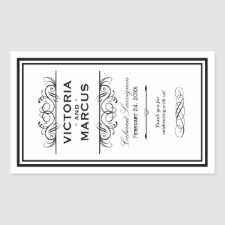 Black and White Wedding Wine Bottle Monogram Favor Rectangular Sticker